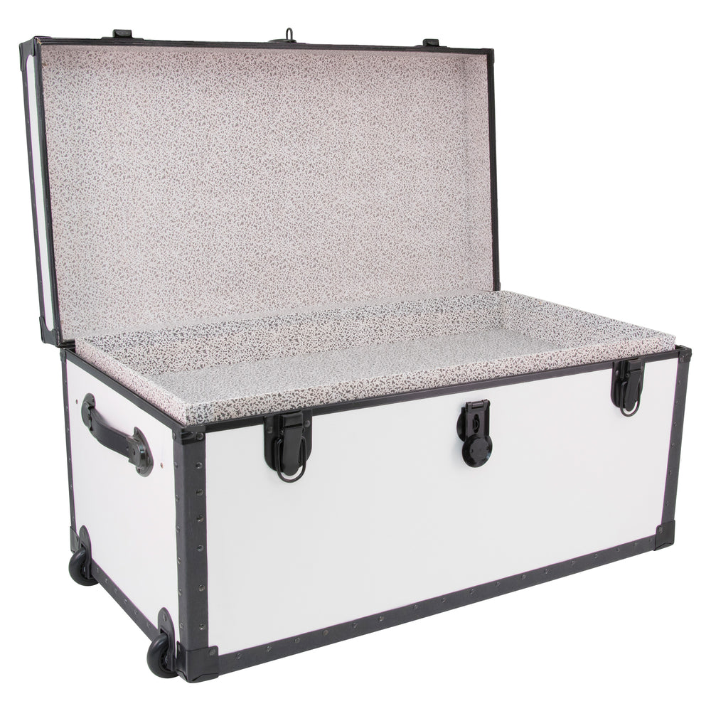 "Footlocker Trunk with Wheels and Tray, 31"", Black Hardware, White"