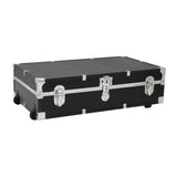 "Footlocker Trunk with Wheels, 31"", Nickel Hardware, Black"