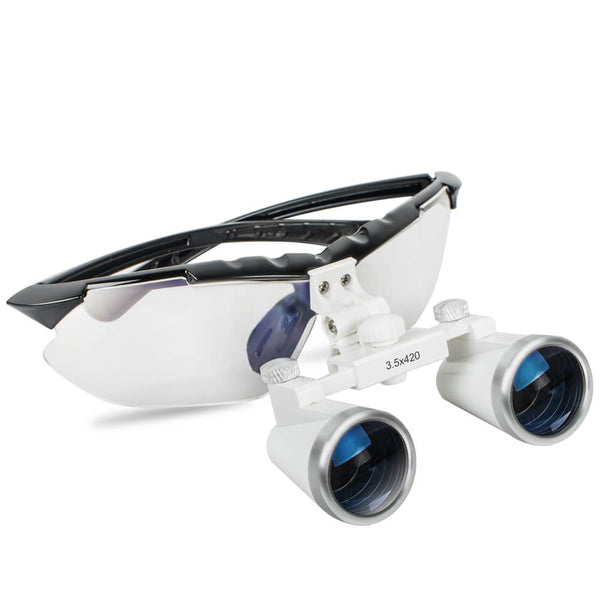 Dental Surgical Medical Binocular Loupes 3.5X 420mm Optical Glass Loupe with Black Frame