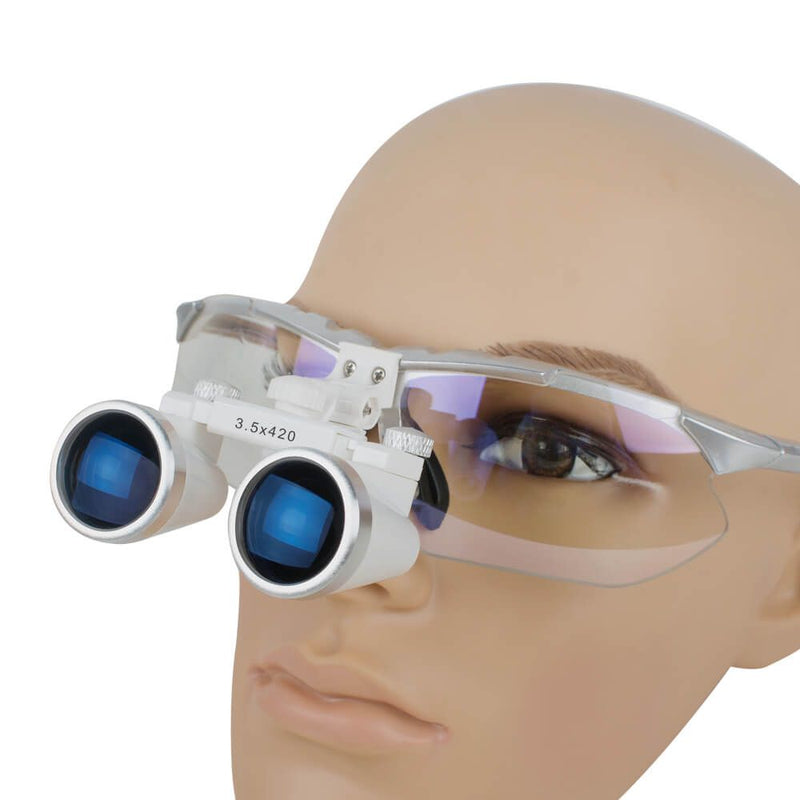 Dentist Silver Dental Surgical Medical Binocular Loupes 3.5X 420mm Optical Glass Loupe