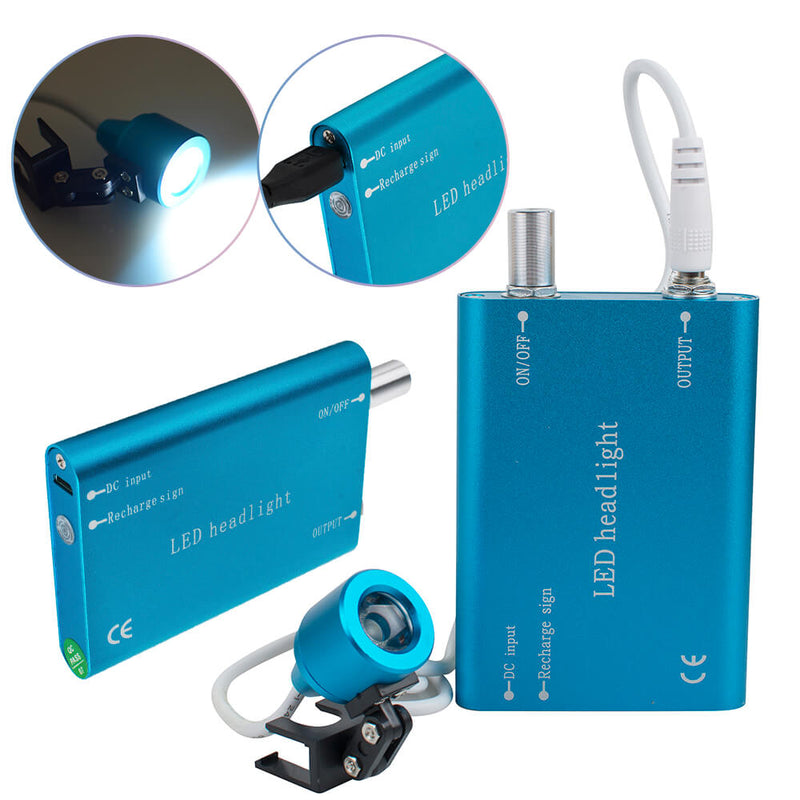 Portable Blue LED Head Light Lamp for Dental Surgical Medical Binocular Loupes