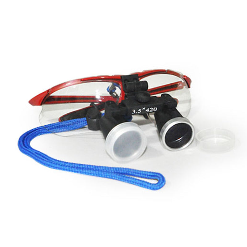 Dentist Red Dental Surgical Medical Binocular Loupes 3.5X 420mm Optical Glass Loupe