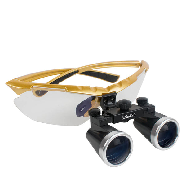 Dental Surgical Medical Binocular Loupes 3.5X 420mm Optical Glass Loupe Yellow Frame