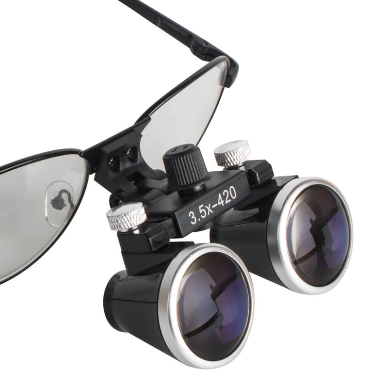 Metal Dental Surgical Medical Binocular Loupes 3.5X 420mm Optical Glass Loupe for Dentist (Black )
