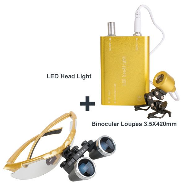 Dental Surgical Medical Binocular Loupes 3.5X 420mm + LED Head Light Lamp (Yellow)