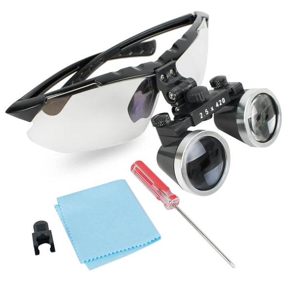 Dentist Black Dental Surgical Medical Binocular Loupes 2.5X 420mm Optical Glass Loupe