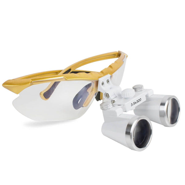 Dental Surgical Medical Binocular Loupes 3.5X 320mm Optical Glass Loupe Yellow Frame