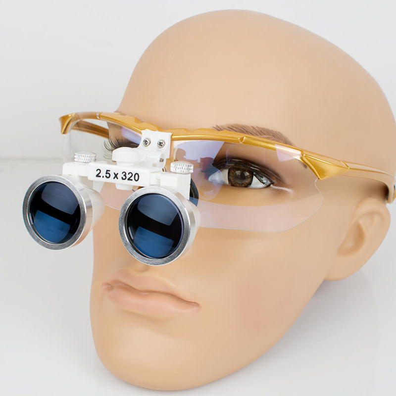 Dental Surgical Medical Binocular Loupes 2.5X 420mm Optical Glass Loupe for Dentist (Yellow)