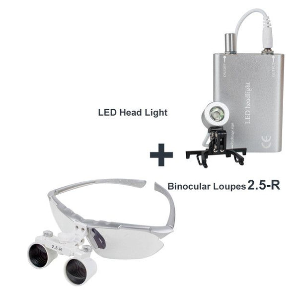 Dental Surgical Medical Binocular Loupes 2.5X 420mm + LED Head Light Lamp (Silver)