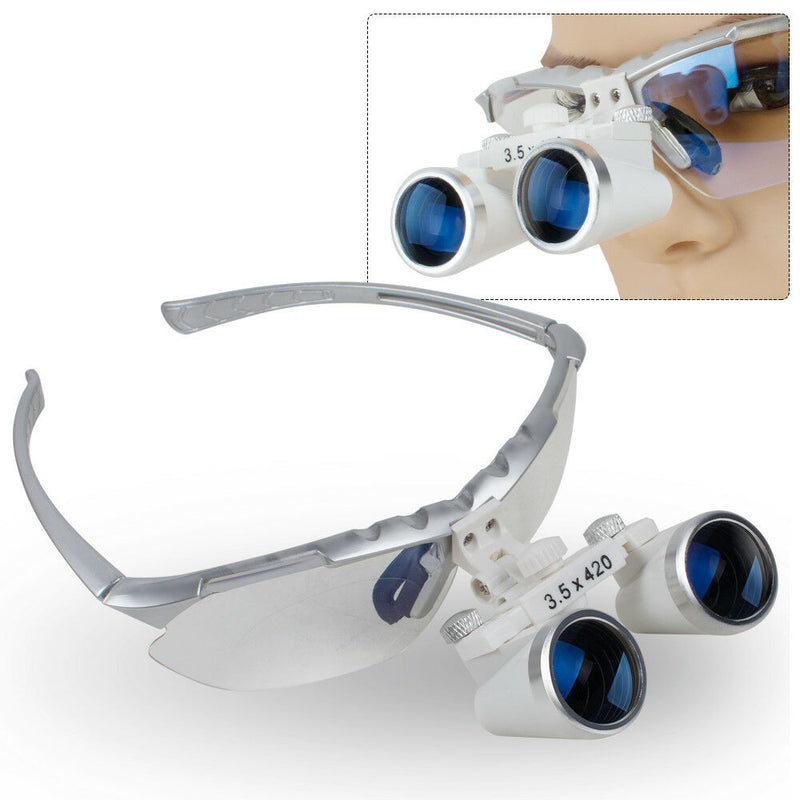 3.5X 420mm Dental Loupes Surgical Binocular Glass Head Light Lamp + Case