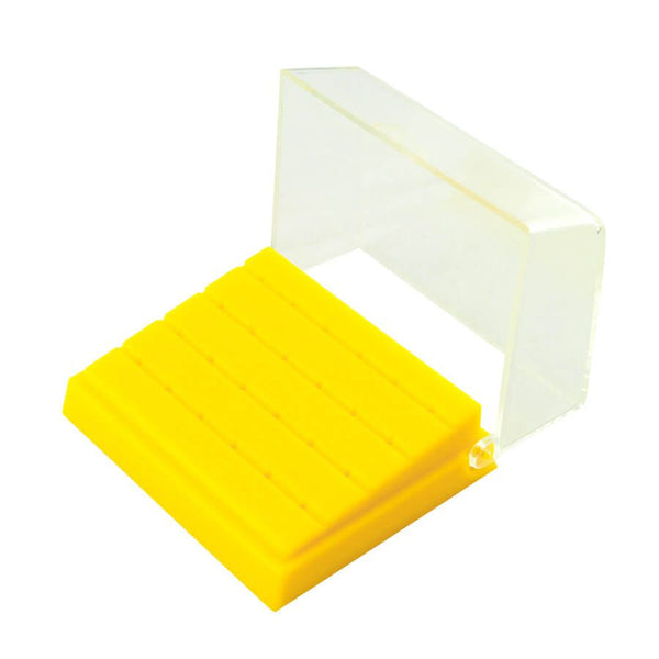 1 Pc Dental Plastic Bur Holder Burs Block Case Box 24 Holes Yellow Color