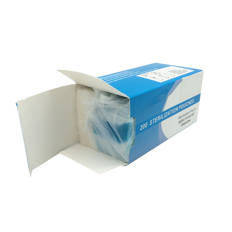 200pcs Self Sealing Sterilization Pouch Bag Clear Blue Nail Tools 2.75*10''