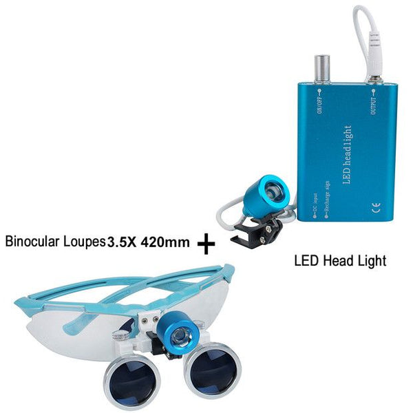 Dental Surgical Medical Binocular Loupes 3.5X 420mm Optical Glass Loupe+dental LED Head Light Lamp (Blue)