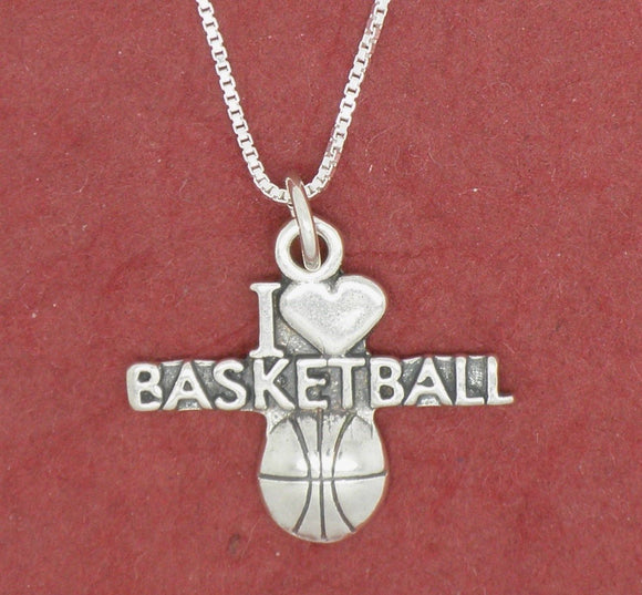 Sterling silver Love Basketball Necklace