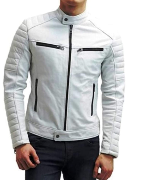 Original White Leather Jacket for Men