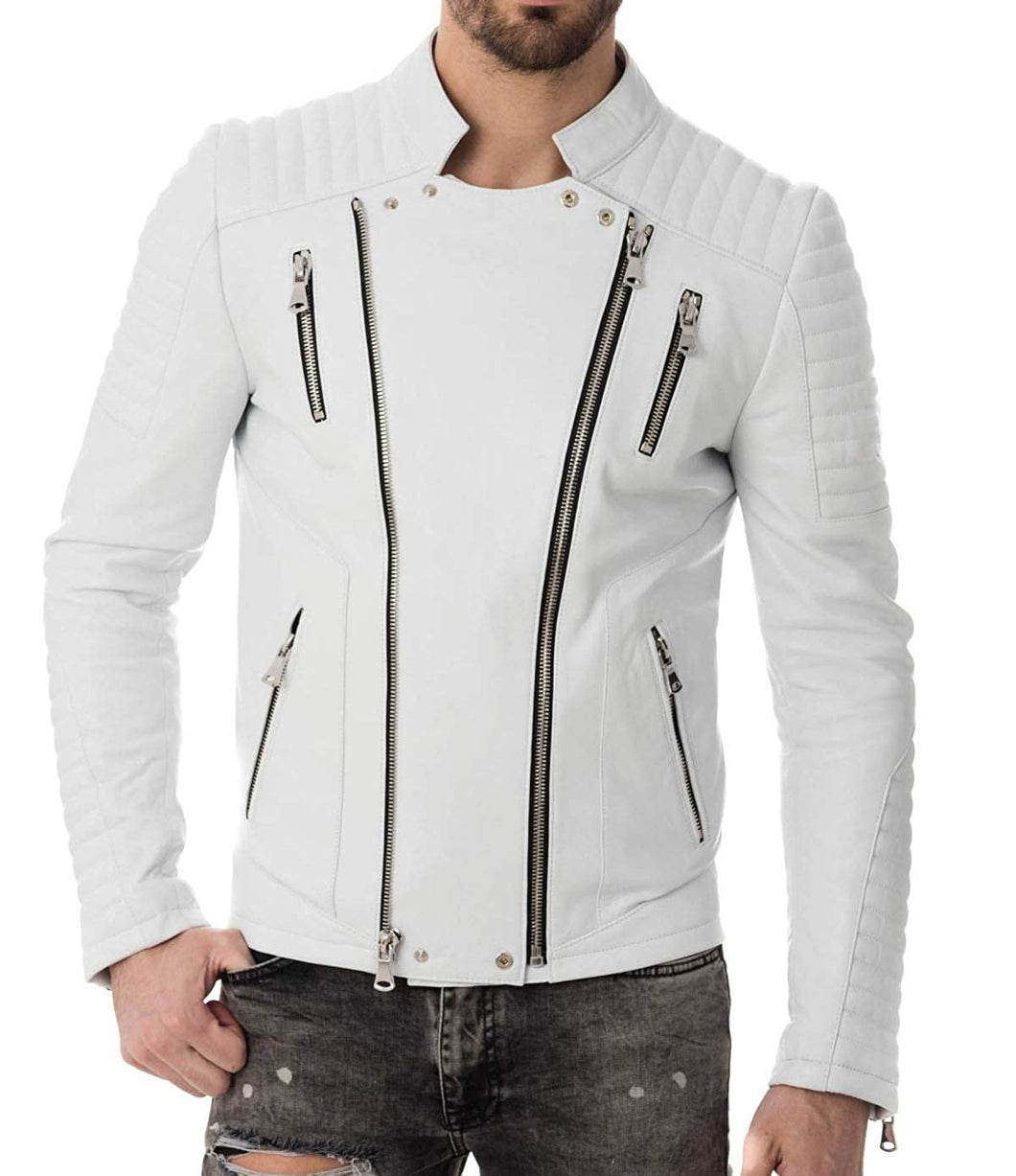 Mens White Motorcycle Biker Jacket