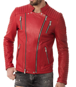 Mens RED Motorcycle Biker Jacket