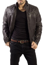 Load image into Gallery viewer, Brown Leather Men's Jacket