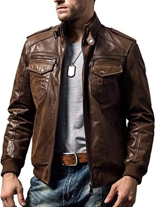 Original Brown Leather Jacket for Men