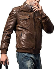 Load image into Gallery viewer, Original Brown Leather Jacket for Men