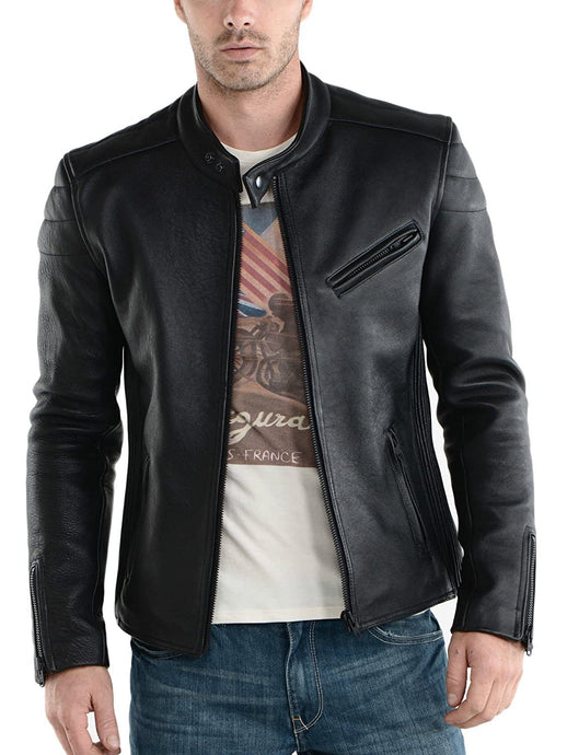 Genuine Black Biker Leather Jacket For Men