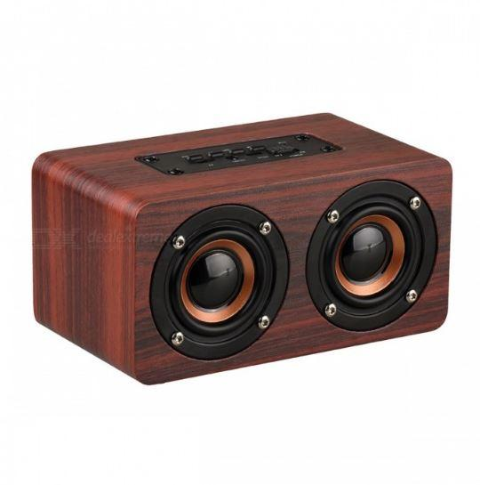 WOODEN WIRELESS BLUETOOTH SPEAKER PORTABLE HIFI SHOCK BASS