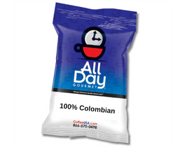 100% Colombian by All Day Gourmet 1.5 oz - 42 Count Pillow Pack - Coffee Wholesale USA