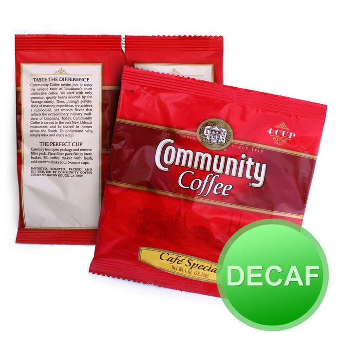 Community Coffee - 4 Cup Hotel Filter Packs - Cafe Special DECAF 1oz - 120ct