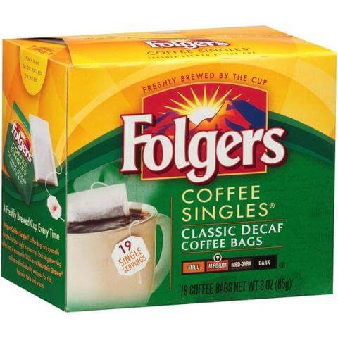 Folgers Coffee Singles - Single Cup Coffee Bags - DECAF