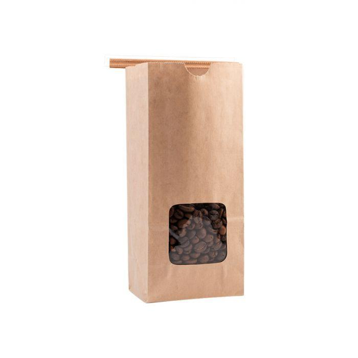 Window Bags - Half Pound Coffee Bags with Window and Tin Ties - TAN KRAFT