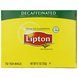 Lipton Tea Bags - All Natural - DECAF - 72ct Box - Coffee Wholesale USA
