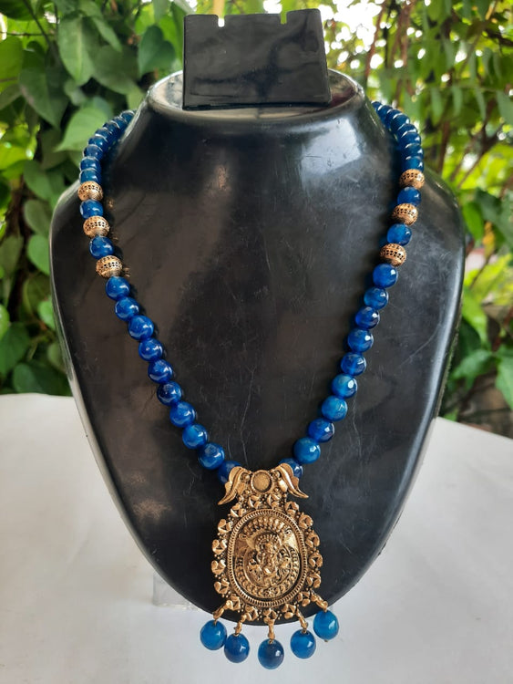 Cobalt Blue Onyx Pearls With Brass Antique Gold-Tone Pendant Necklace