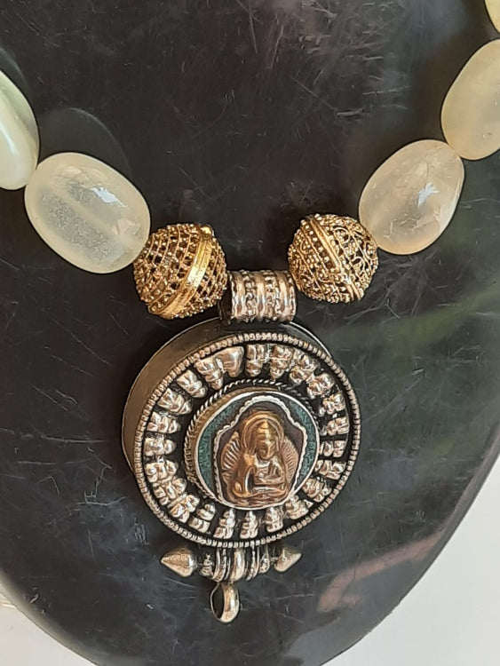 Natural White Stones With Nepalese Buddha Pendant