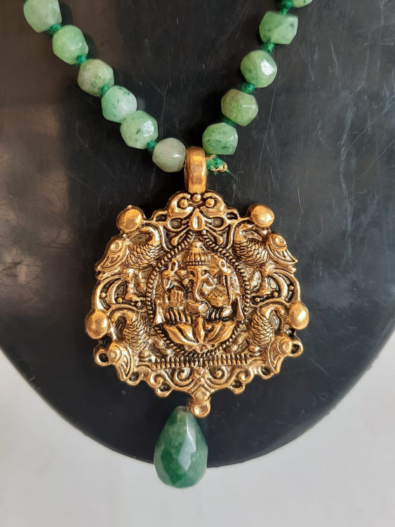 Natural Agate Green-Tone Stones With Brass Ganesha Pendant Necklace