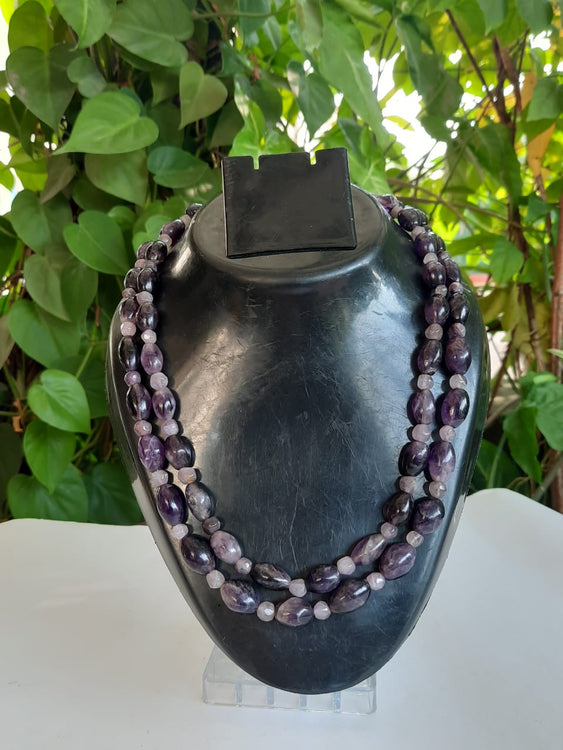 Purple Natural Agate Gemstone Necklace