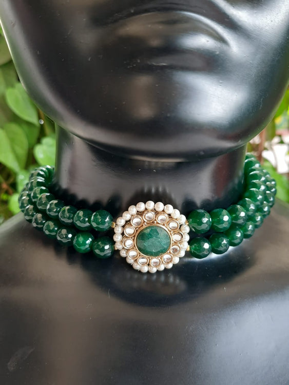 Green Onyx Pearls Double String Choker