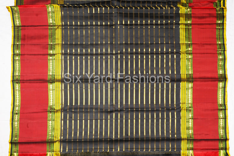 Black Kanjeevaram Silk Saree with 10 Inch Border