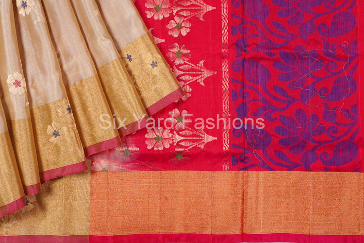 LemonChiffon Pure Silk Saree with Flower Butta