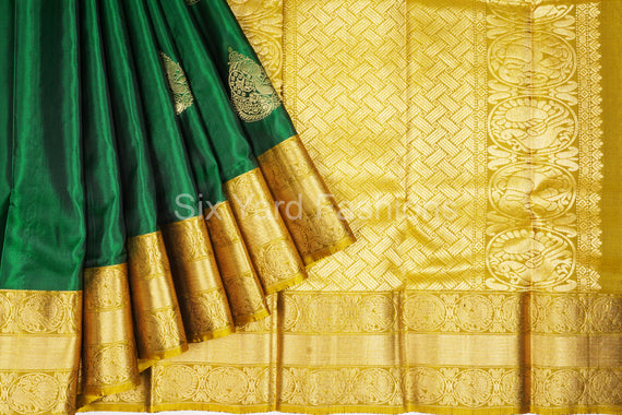 Green Soft Silk Saree with Elephant & Peacock Jacquard Border