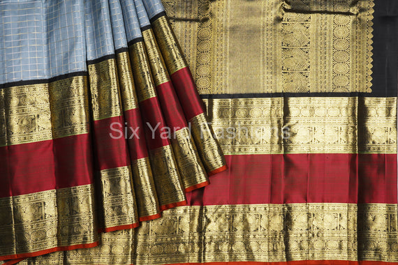 Gray Kanjeevaram Silk Saree with 12 Inch Border