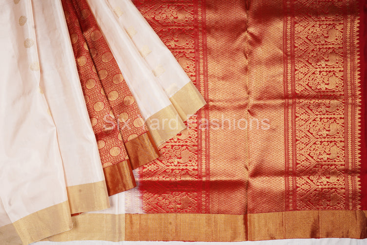 Beige Kanjeevaram Silk Saree with Coin Patli & Fleet Design