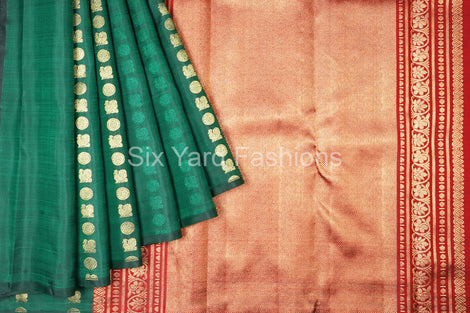 Green Kanjeevaram Silk Saree with Elephant Buttas