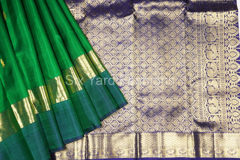 Green Kanjeevaram Silk Saree with Peacock Butta Border