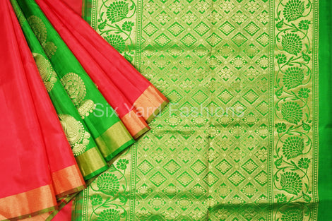 Red Pure Silk Saree with Jumki Peacock Patli