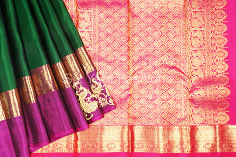 Kanjeevaram Silk Saree with Zari Peacock Border