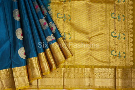 Blue Kanjeevaram Silk Saree with Jacquard border