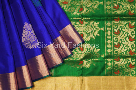 Navy Blue Pure Silk Saree with Big Flower Butta