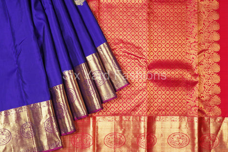 Blue Kanjeevaram Silk Saree with Design Border