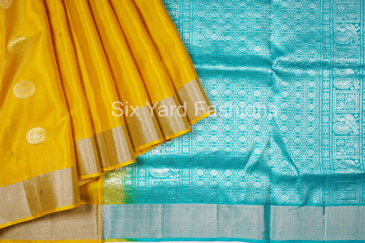 Dark Yellow Pure Pochampally Silk Saree with Peacock Butta, Jacquard Blouse