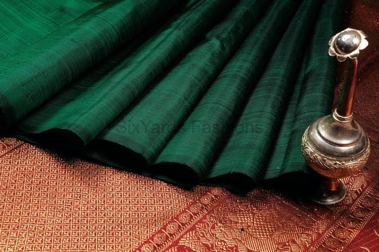 Green Kanjeevaram Silk Saree without Border